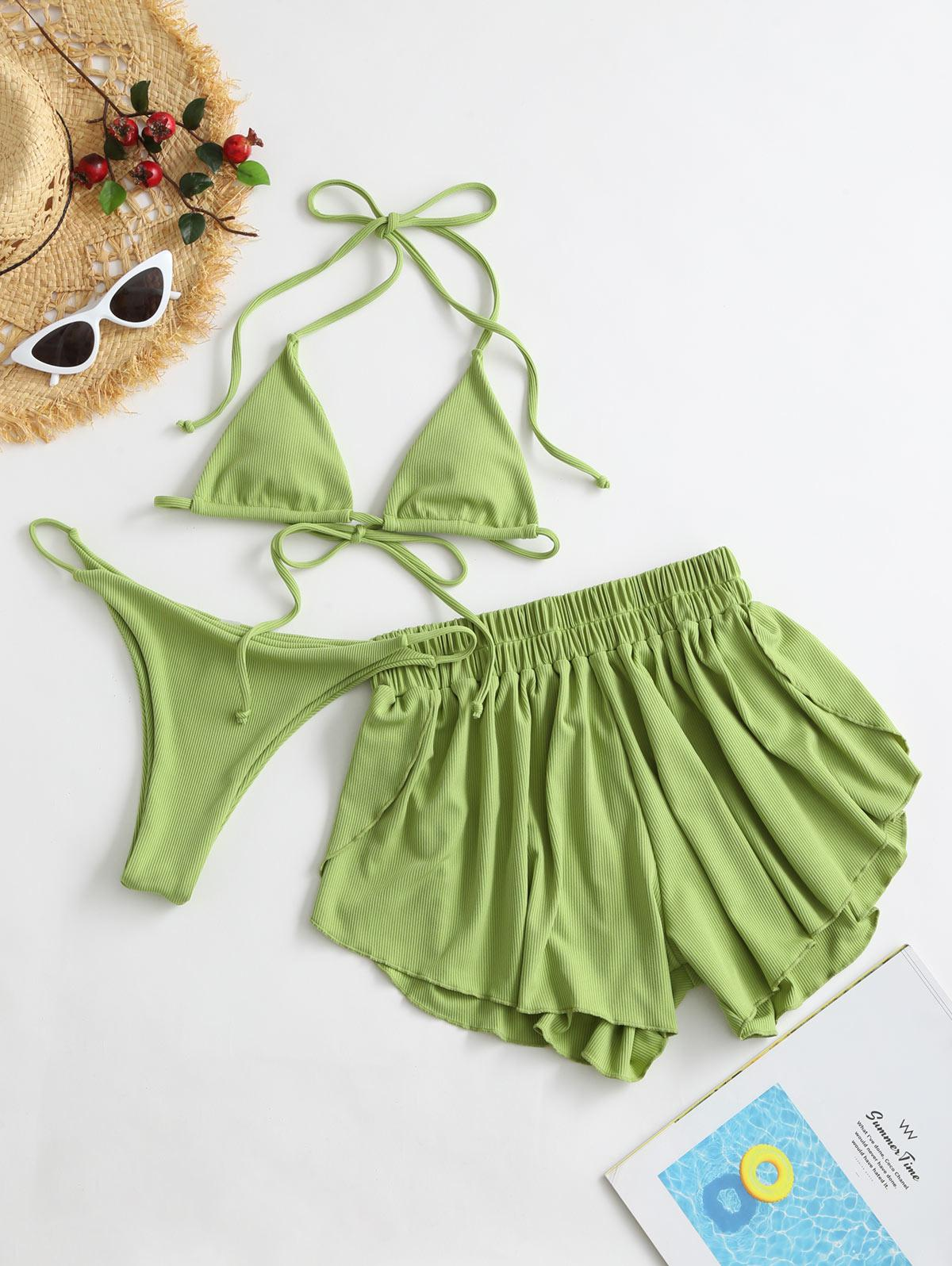 ZAFUL Ribbed Three Piece Halter Tie Bikini Swimsuit thumbnail