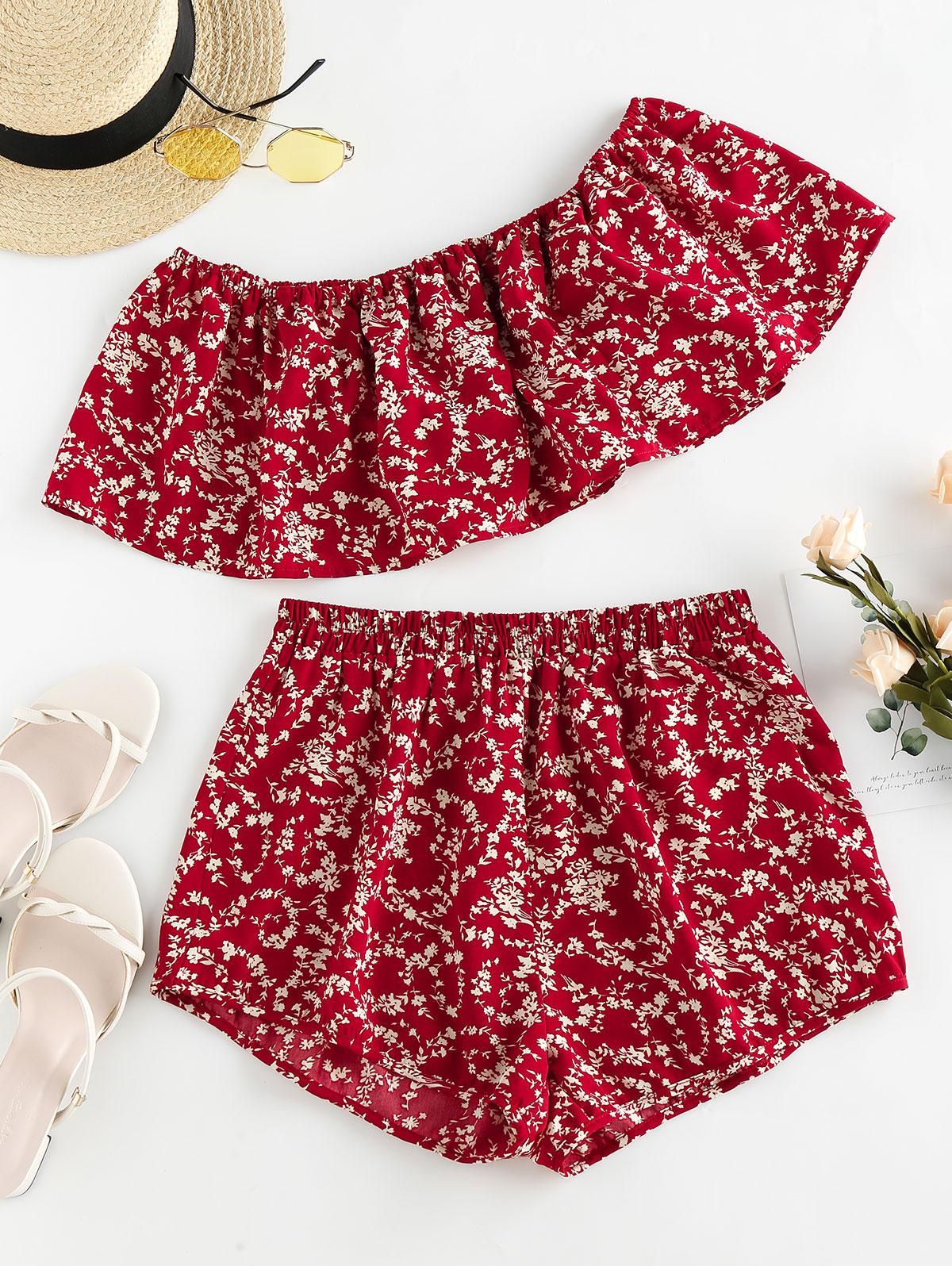 ZAFUL Ditsy Floral Flounce Off Shoulder Two Piece Set, Chestnut red