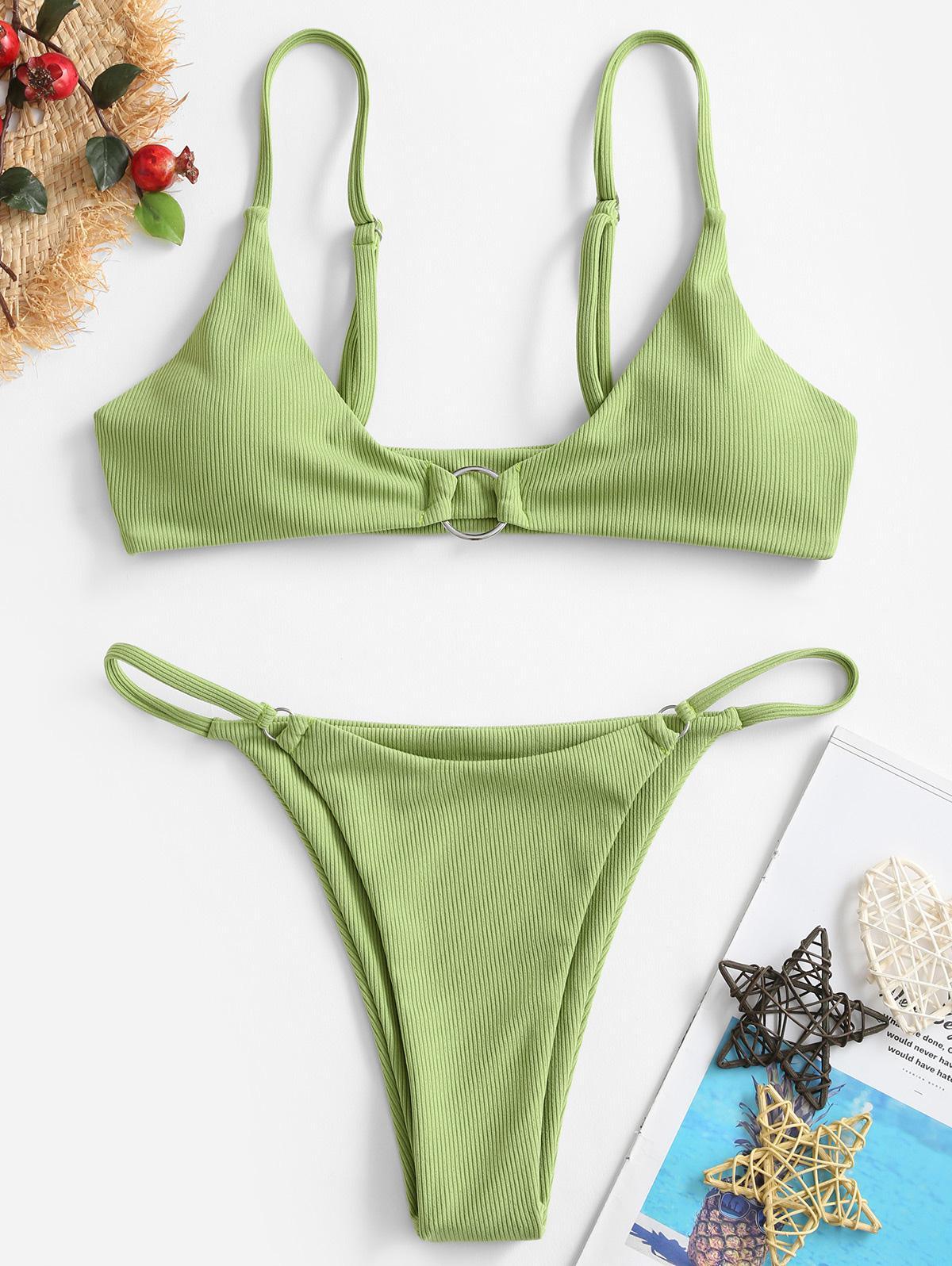 ZAFUL Ribbed O-ring String Bikini Swimsuit