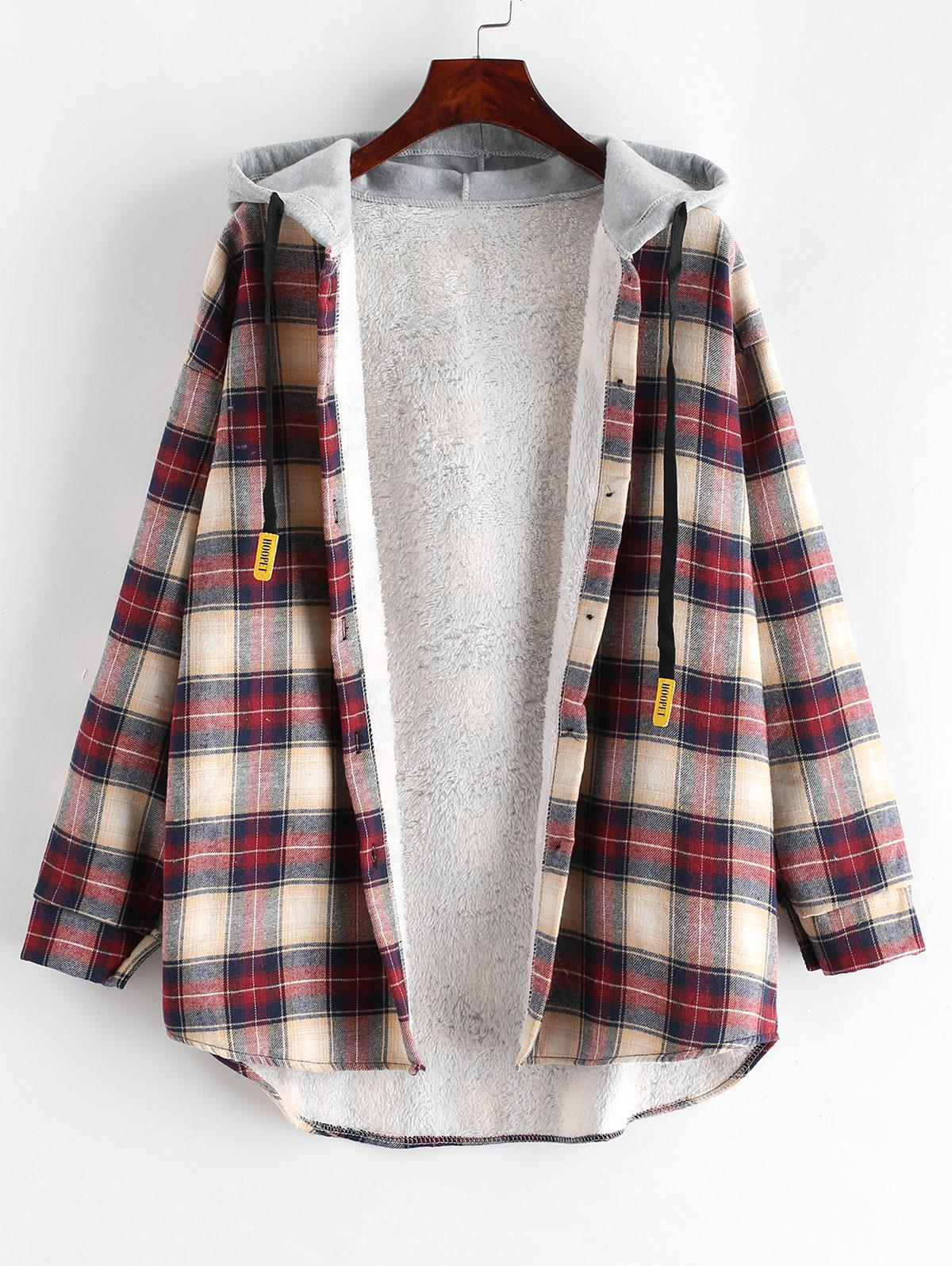 Plaid Buttoned Curved Hem Hooded Coat