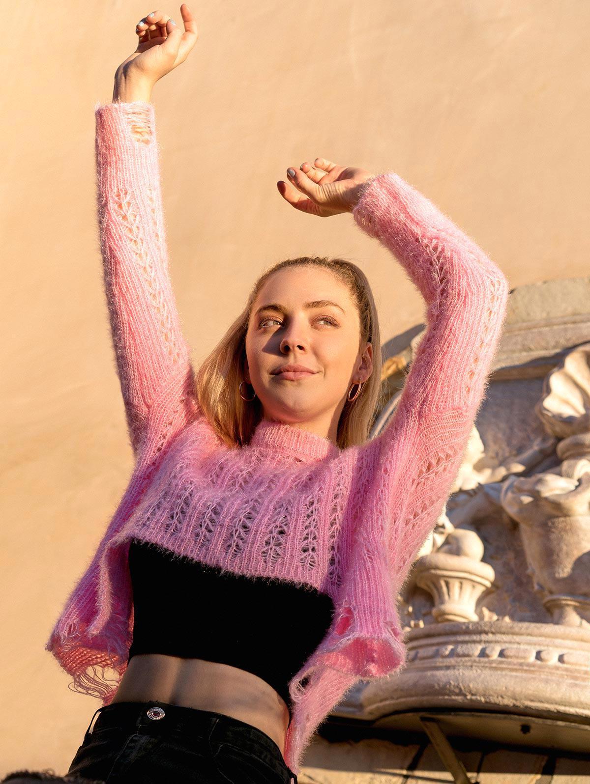 ZAFUL X Luna Montana Ripped Stepped Hem Open Knit Solid Sweater