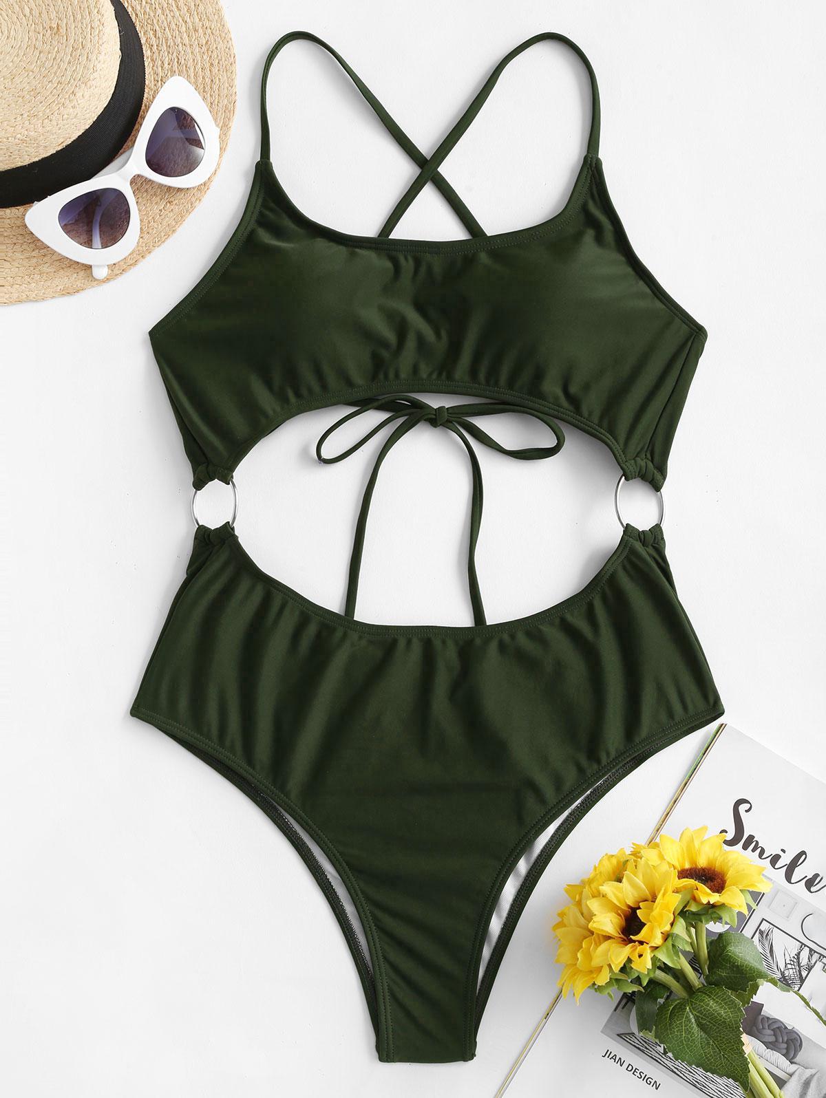 ZAFUL O Ring Criss Cross Monokini Swimsuit фото