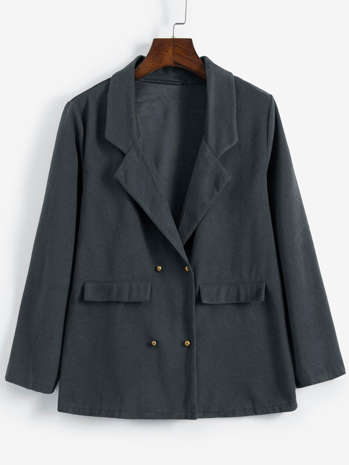 Double Breasted Notch Lapel Tunic Coat