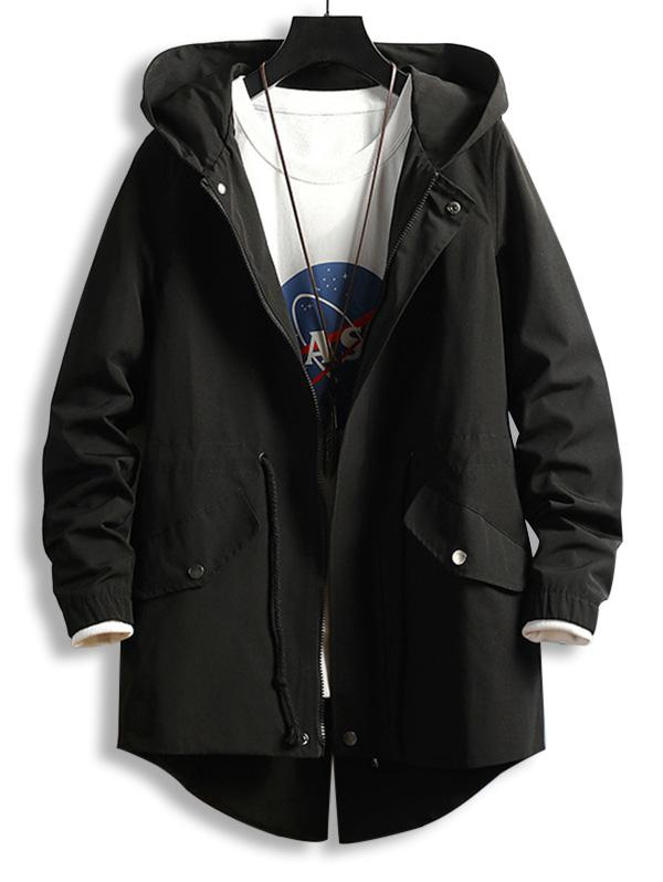 Drawstring Waist Zip Up Hooded Dovetail Coat фото