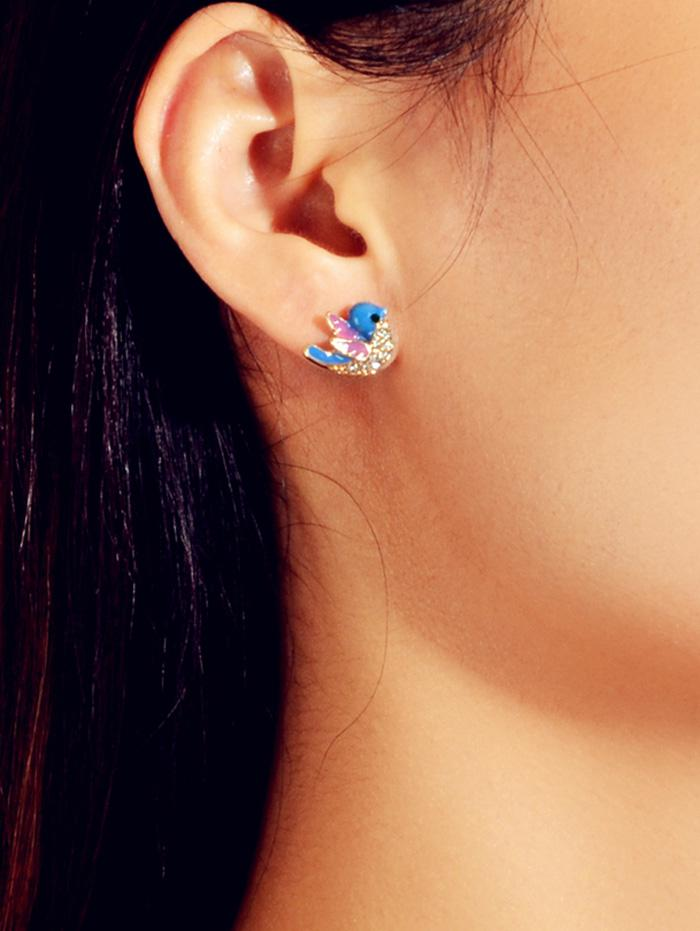 Bird Stud Earrings In Cobalt Blue