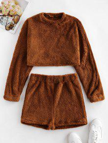 Plain Fluffy Sweatshirt And Shorts Set