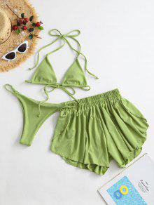 ZAFUL مضلع ثلاثة قطعة الرسن التعادل بيكيني ملابس السباحة - الفستق الأخضر S