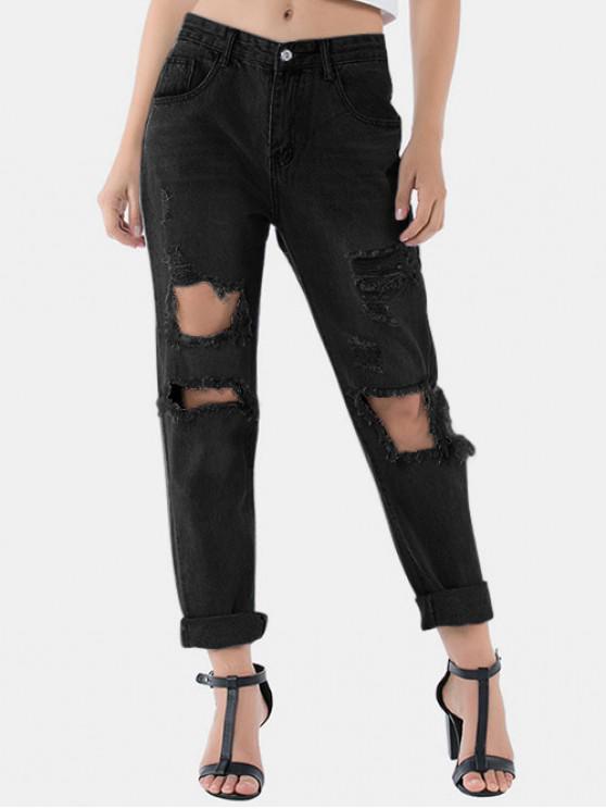 lady Distressed Raw Hem Boyfriend Jeans - NATURAL BLACK S