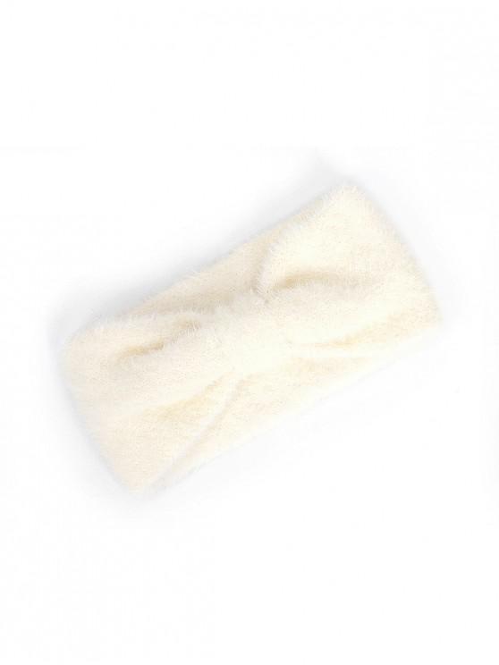 sale Faux Fur Bowknot Wide Headband - WHITE