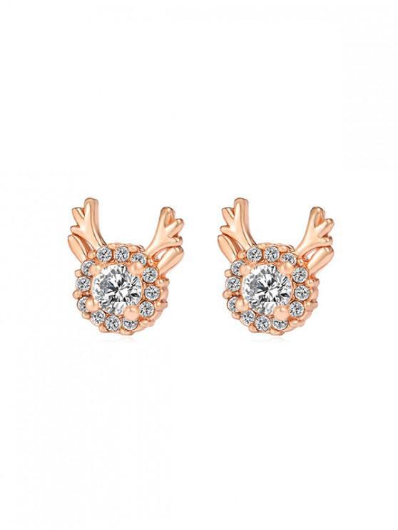 affordable Christmas Antlers Rhinestone Stud Earrings - GOLD