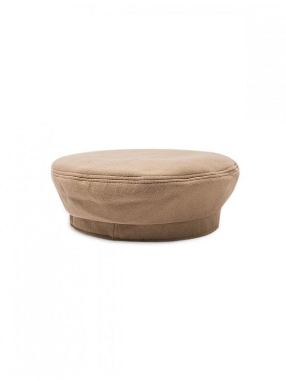 women Winter Solid Woolen Retro Beret Hat - CAMEL BROWN