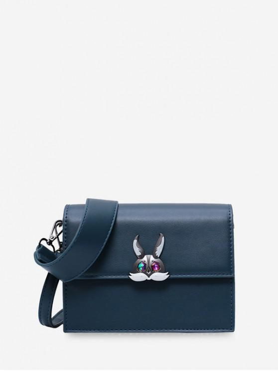 women's Solid Square Rabbit Shoulder Bag - PEACOCK BLUE