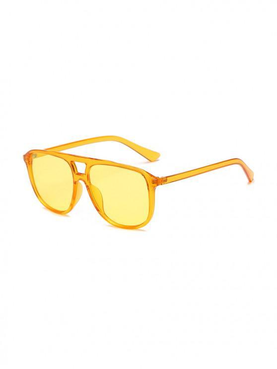 ladies Unisex Oversize Transparent Frame Sunglasses - SUN YELLOW