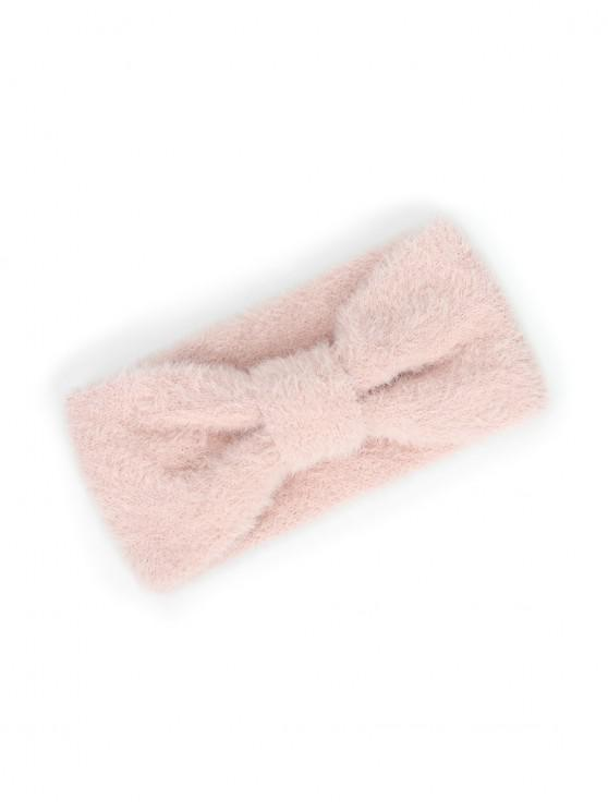 人造毛皮蝴蝶結寬頭帶 - 淡粉色