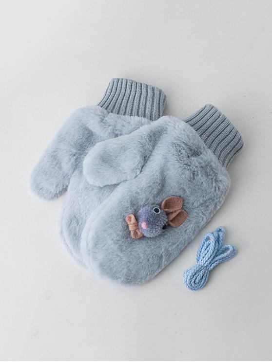 shop Winter Rabbit Velour Mitten Gloves - PASTEL BLUE