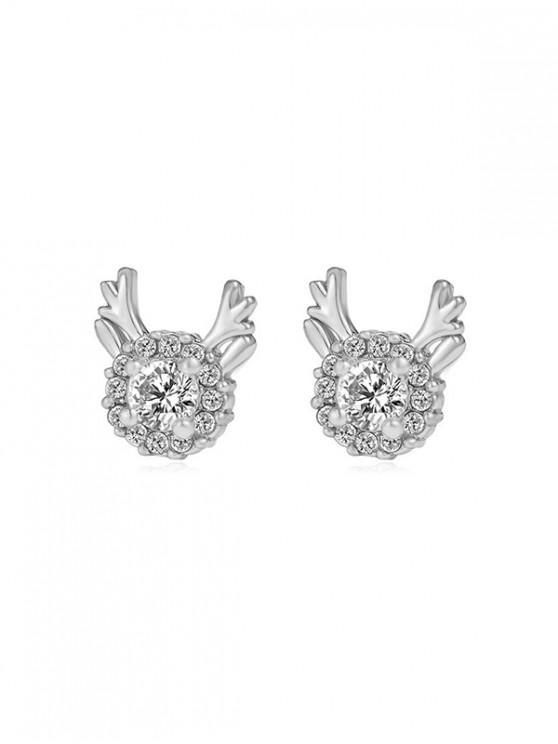 women Christmas Antlers Rhinestone Stud Earrings - SILVER