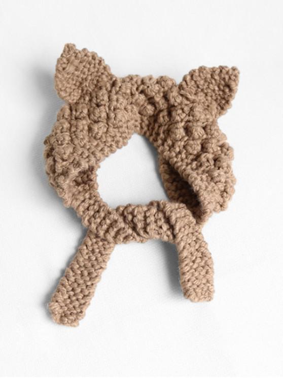 online Knitted Woolen Yarn Ears Shape Hair Accessories - KHAKI
