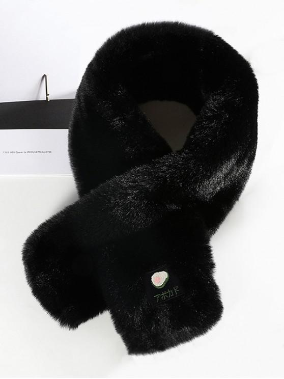 new Fruit Applique Solid Cross Fluffy Scarf - BLACK