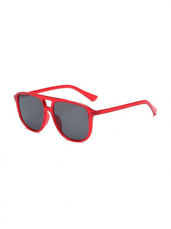 hot Unisex Oversize Transparent Frame Sunglasses - RED
