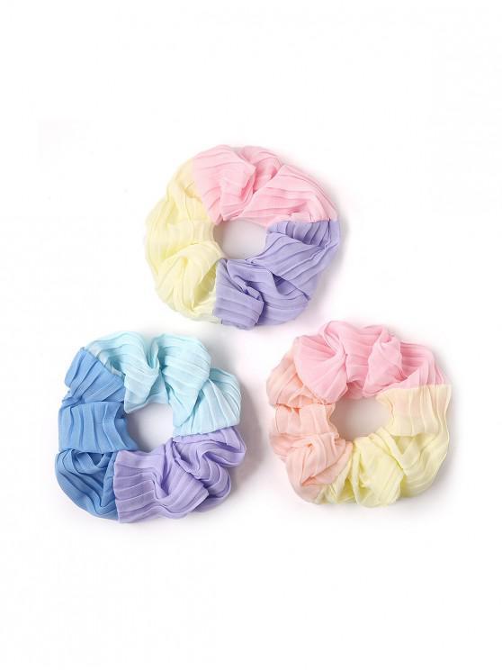 latest 3Pcs Chiffon Patchwork Fabric Scrunchies Set - MULTI-A