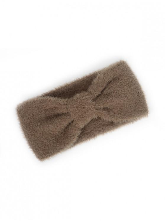 fashion Faux Fur Bowknot Wide Headband - COFFEE