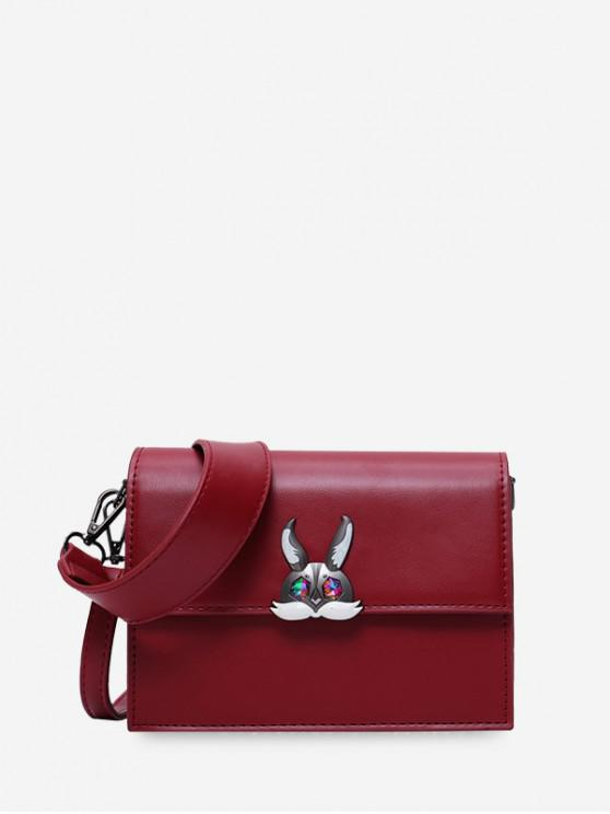 shops Solid Square Rabbit Shoulder Bag - RED WINE