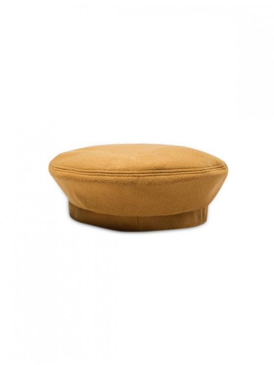 trendy Winter Solid Woolen Retro Beret Hat - CARAMEL
