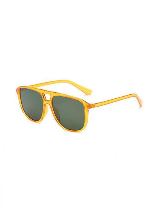 fashion Unisex Oversize Transparent Frame Sunglasses - DARK GREEN