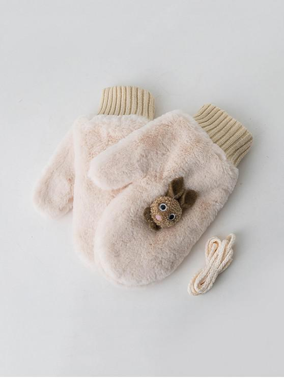 الشتاء الأرنب قفازات القطيفة القفاز - الأبيض الدافئ