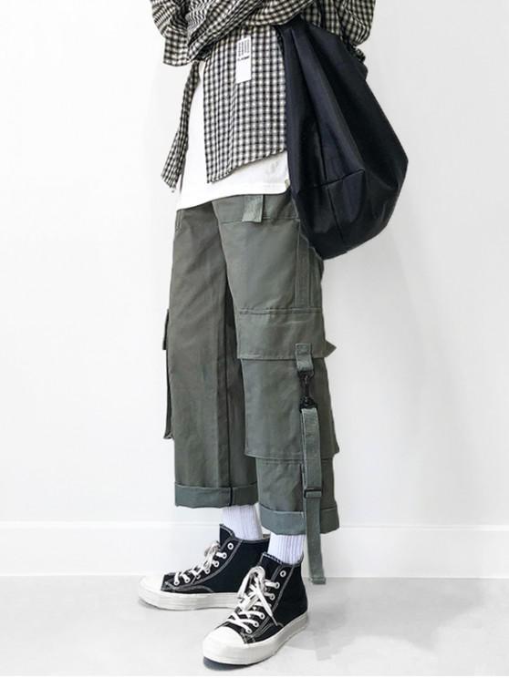 outfits Multi Pockets Elastic Waist Straight Cargo Pants - GRAY XL