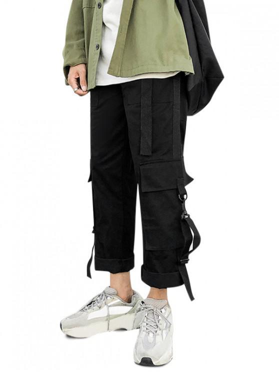 fashion Multi Pockets Elastic Waist Straight Cargo Pants - BLACK XL
