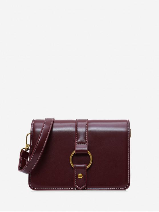 womens Ring Decorated Solid Shoulder Bag - RED WINE