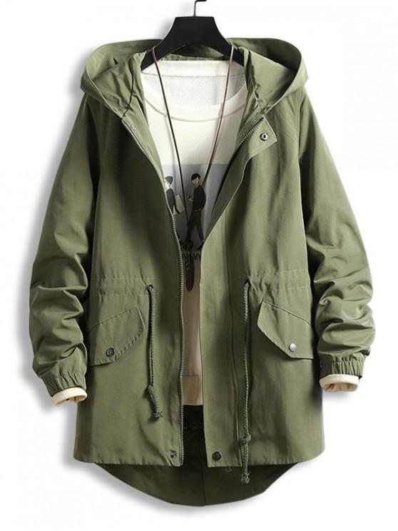 lady Drawstring Waist Zip Up Hooded Dovetail Coat - ARMY GREEN M