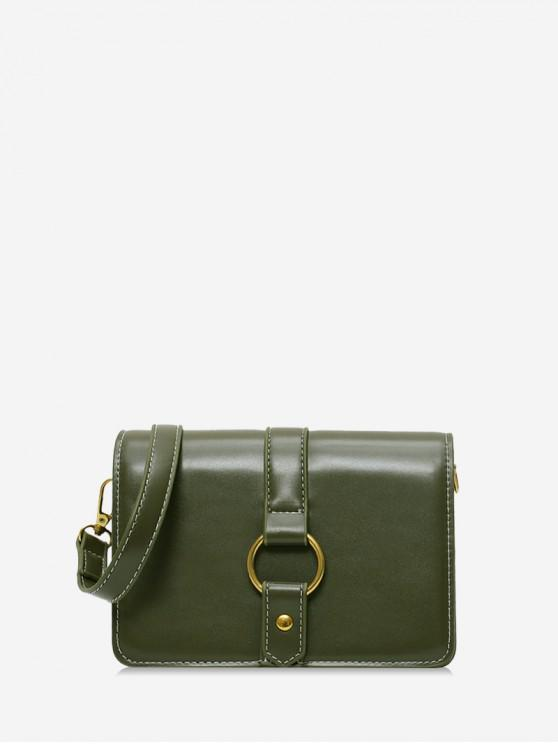 outfit Ring Decorated Solid Shoulder Bag - DARK GREEN