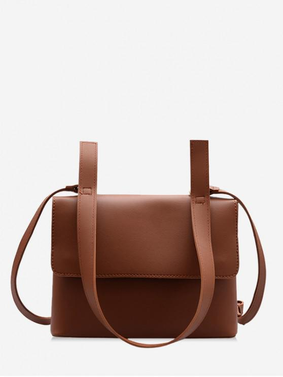 latest Simple PU Leather Messenger Bag - BROWN