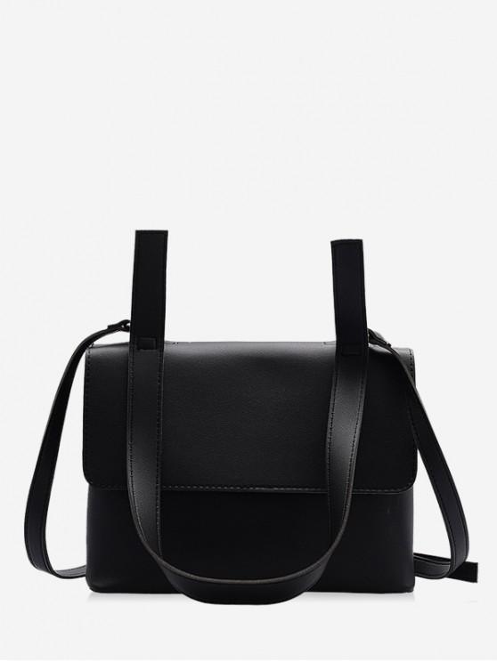 fashion Simple PU Leather Messenger Bag - BLACK