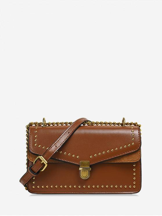 buy Studded Flap Square Crossbody Bag - BROWN
