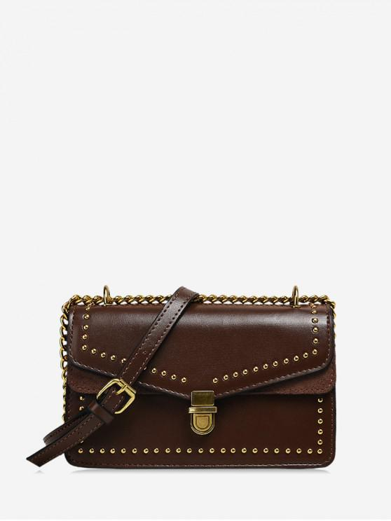 online Studded Flap Square Crossbody Bag - COFFEE