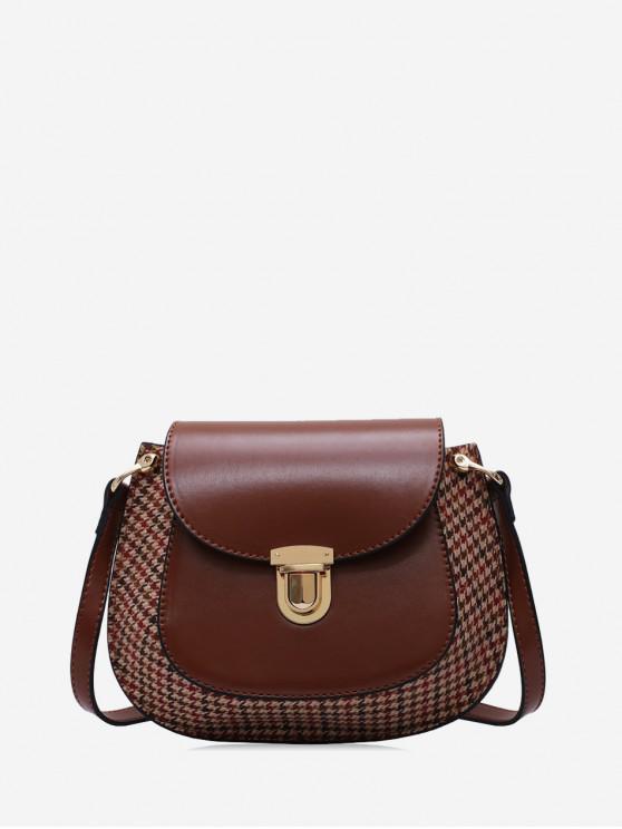 hot Houndstooth Panel Flap Saddle Bag - BROWN