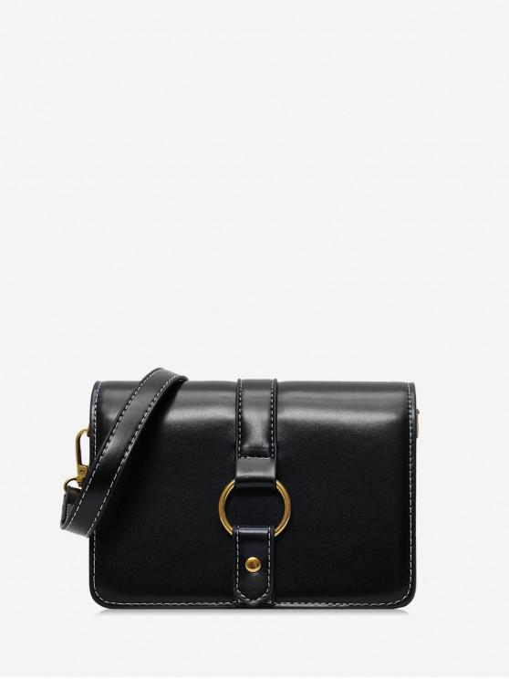 shop Ring Decorated Solid Shoulder Bag - BLACK