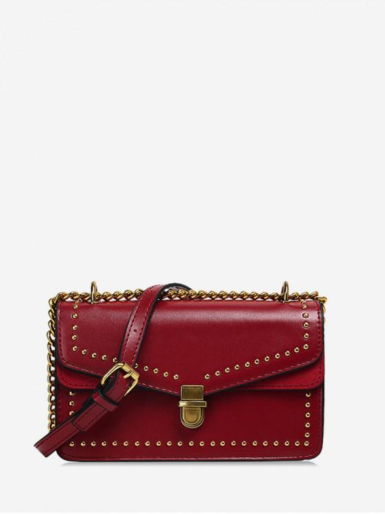 latest Studded Flap Square Crossbody Bag - RED WINE
