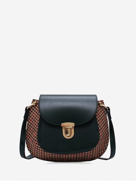 trendy Houndstooth Panel Flap Saddle Bag - DARK GREEN