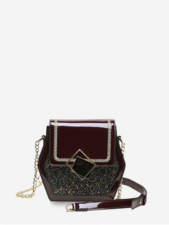 chic Shiny Sequins Panel Flap Hexagon Crossbody Bag - RED WINE