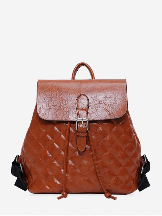 fancy Quilted PU Leather Buckle Drawstring Backpack - BROWN