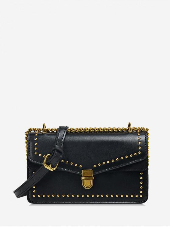 unique Studded Flap Square Crossbody Bag - BLACK