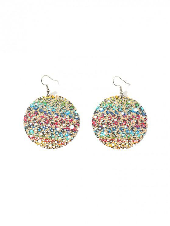 womens Hollow Out Round Drop Earrings - MULTI