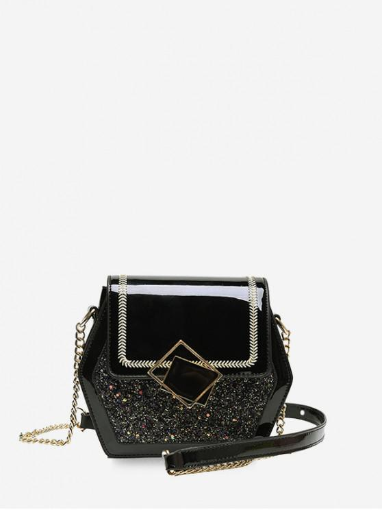 women's Shiny Sequins Panel Flap Hexagon Crossbody Bag - BLACK