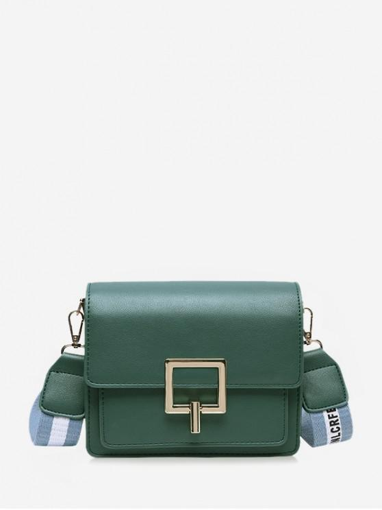 lady Square Buckle Wide Strap Flap Crossbody Bag - GREENISH BLUE