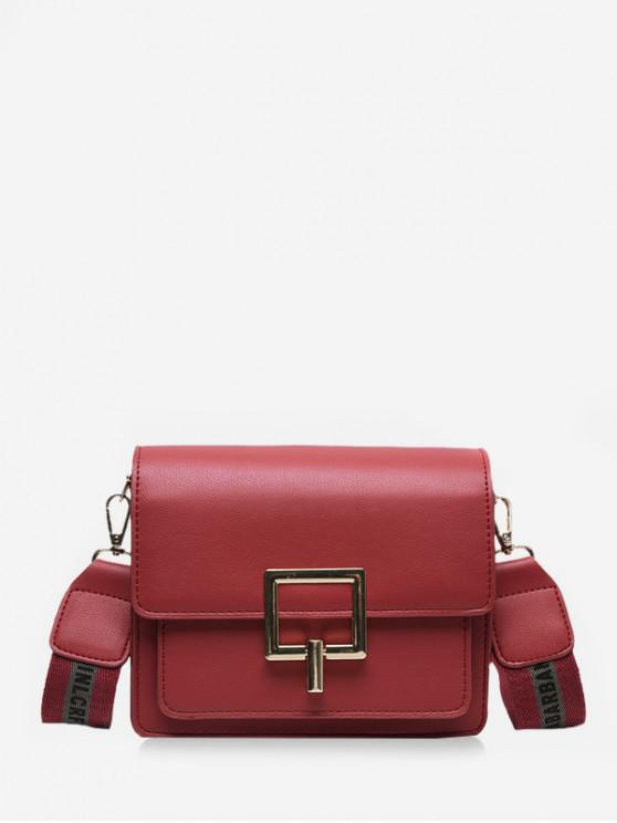 outfit Square Buckle Wide Strap Flap Crossbody Bag - RED WINE