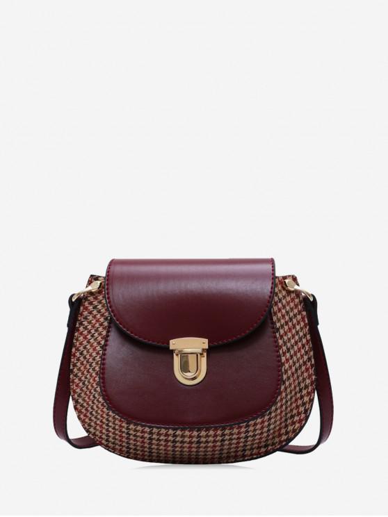 trendy Houndstooth Panel Flap Saddle Bag - RED WINE